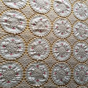 """Vintage hand crochet embroidery table cloth 87""""×77"""